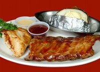 #9 Trail Drivers Platter Baby Back Ribs and Grilled Chicken Breast $12.99